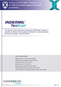 Testing of INDERMIL® Flexifuze™ as an effective barrier against microbial penetration.  The objective of this study was to determine if INDERMIL® Flexifuze™ provides an effective barrier against penetration by selected bacteria and the yeast fungus Canidida albicans. Read the study
